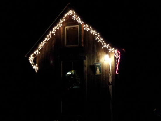 Icicle lights and a candy cane made the front of our house look like a gingerbread house!