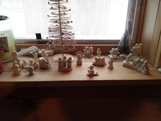 My mini snow baby collection on the windowsill