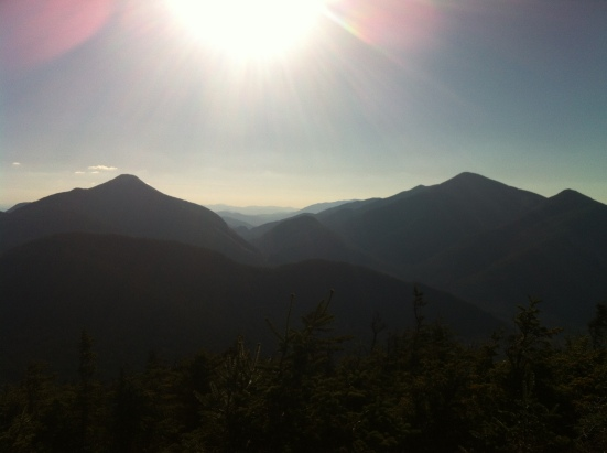 Mt Marcy on the right, Table Top Mountain on the left, taken from the summit of Phelps Mountain (elev. 4,160 ft)