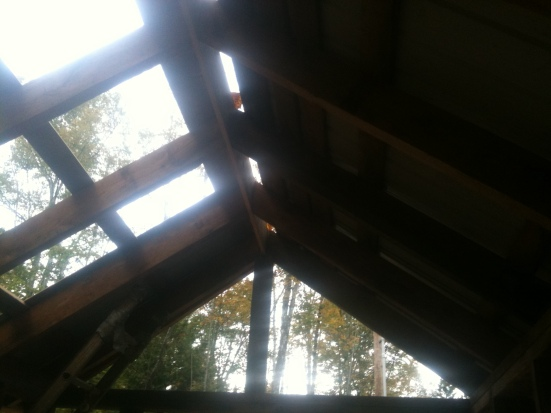 All the wall studs and rafters were 2x4 rough cut sawn on my uncles land and left over from his barn building project.