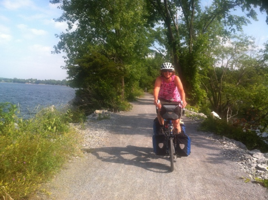 Riding out onto Lake Champlain on the Causeway Rail Trail between Grand Isle and Burlington.